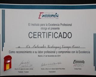Dr. Rodríguez-Camps   Estrella de Oro del Instituto para la Excelencia Profesional