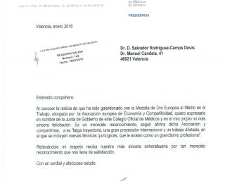Felicitación de la Junta de gobierno del ilustre colegio oficial de médicos de valencia al Dr. Rodríguez-Camps