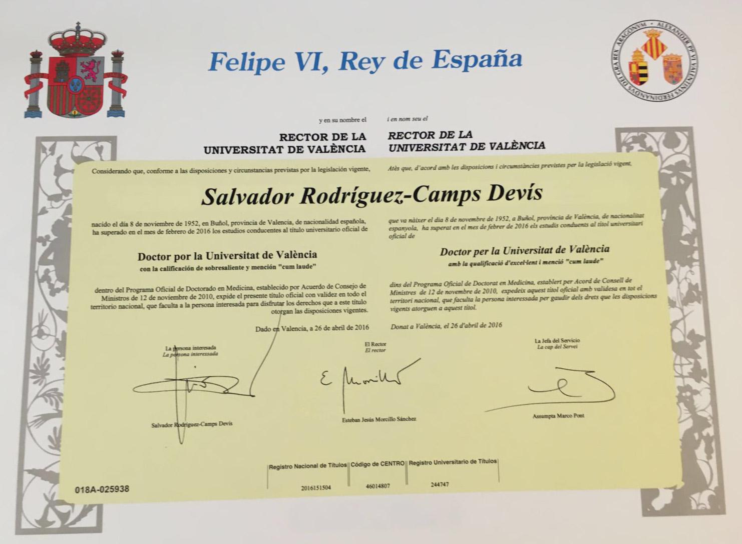 Doctor sobresaliente cum laude por la universidad de valencia for Universidad de valencia master