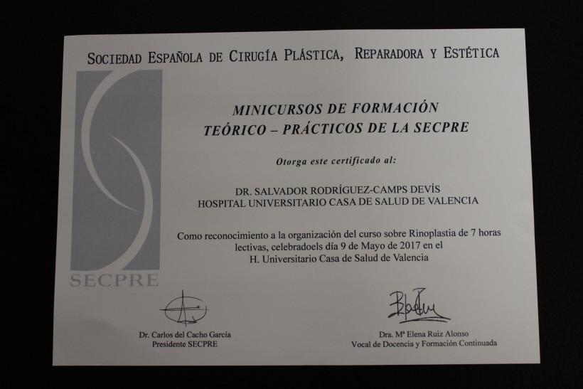 foto certificado IICurso de Rinoplastia