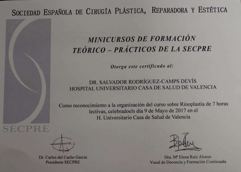 foto certificado IICurso de Rinoplastia cerca